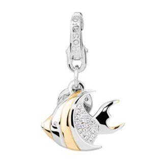 Charm Pesce Rosato Argento Oro Zirconi - Collezione My Holidays - HL010