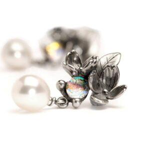 Orecchini Trollbeads Fiore  Perle Argento Vetro di Murano - 56102