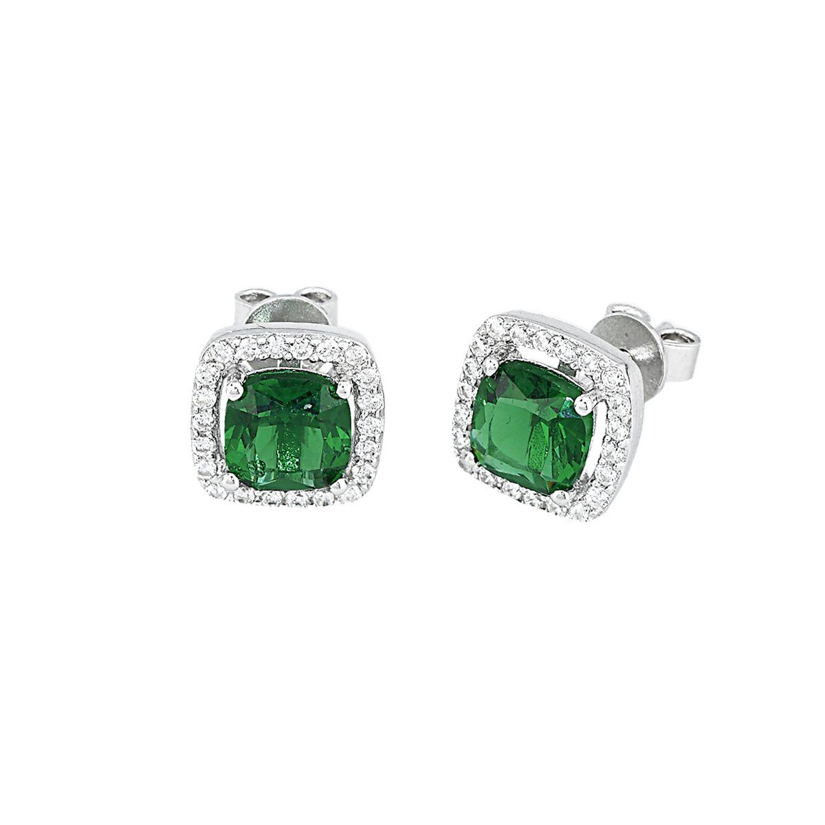 Popolare Orecchini Mabina Donna Argento Zirconi Verde Smeraldo - 563054 QC89