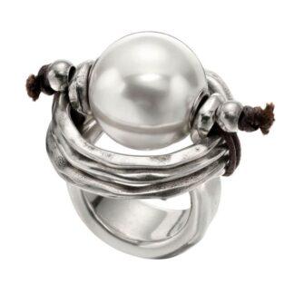 Anello Uno de 50 Peltro Pelle Perla Bianca - ANI0390BPLMTL