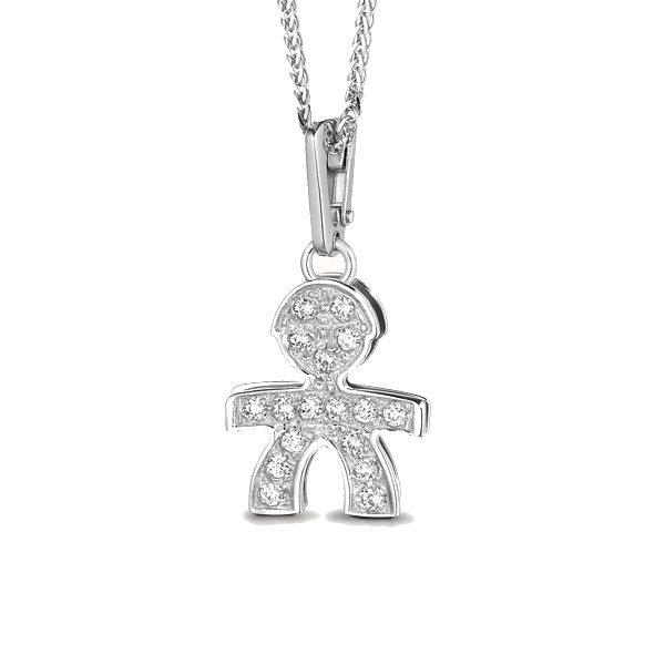 Ciondolo Donna Le Bebè Pavè Piccoli Maschietto in Oro bianco e Diamanti –  LBB011 36833f8ba40