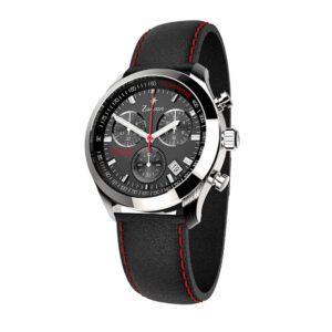 Orologio Zancan Cronografo in Acciaio e Pelle Nero e Rosso - HWM005
