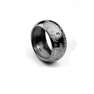 Anello Ego You Argento brunito Diamante personalizzabile Incisione - ANAG274