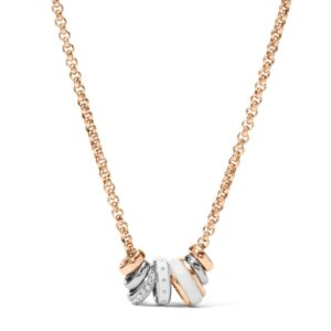 Collana Donna Fossil Acciaio Rosè Beads Cristalli - JF01122998