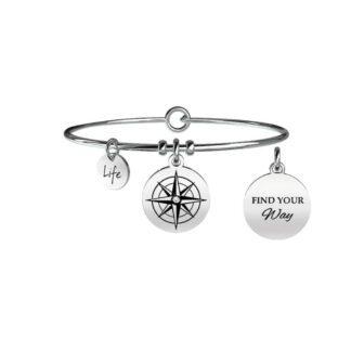 Bracciale Kidult Life Symbols - Rosa dei Venti | Direzione Acciaio Cristallo 731063