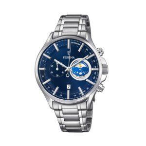 Orologio Festina Uomo Sport Cronografo Acciaio Blu Fasi Lunari - F6852/2