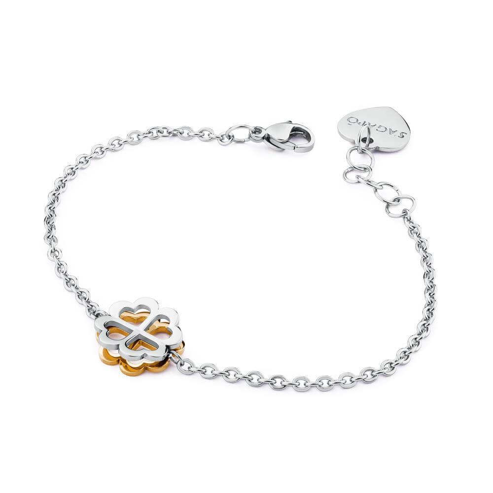 fb3a0c1f2106b8 Bracciale Donna S'Agapo' Butterfly in Acciaio con Quadrifoglio – SBF17