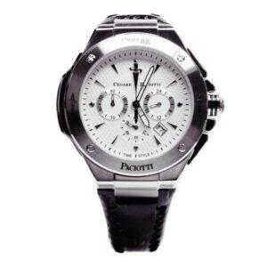 Orologio Cronografo Uomo Cesare Paciotti Hill Acciaio Pelle Nera - TSCR098