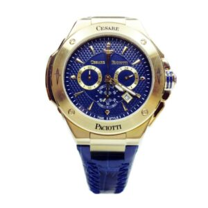 Orologio Cronografo Uomo Cesare Paciotti Hill Acciaio Oro Pelle Blu - TSCR099