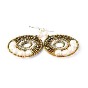 Orecchini Ziio World Argento Vetro di Murano Pirite Perle - EAR WORLD PEARL