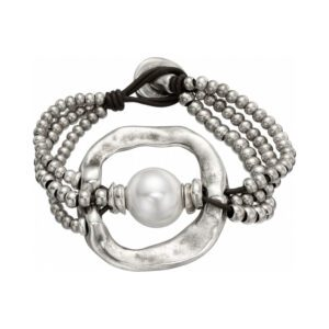 Bracciale Uno de 50 - A Pearl of Wisdom - Peltro Pelle Perla - PUL1130MTLBPL0M