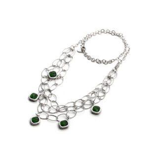 Collana Donna 4US - Multifilo Ottone Cristalli Verdi - 4UCL1826W
