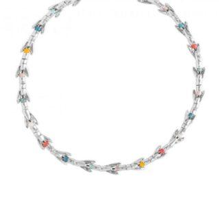Collana Uno de 50 Peltro argentato Pietre colorate - Colita con Colita - COL1132MCLMTL0U