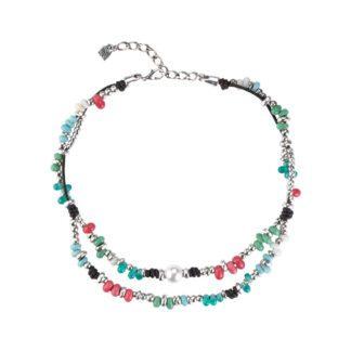 Collana Uno de 50 Donna Peltro Perla Pietre Dure Colorate - COL1258BPLMCL0U