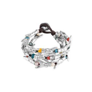 Bracciale Uno de 50 Peltro Cuoio Pietre colorate - Tricola - PUL1539MCLMTL0M