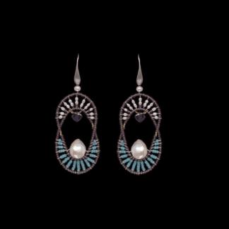 FOTO...Orecchini Ziio in Argento e Vetro di Murano con Perle - EAR ELISSE BLU S