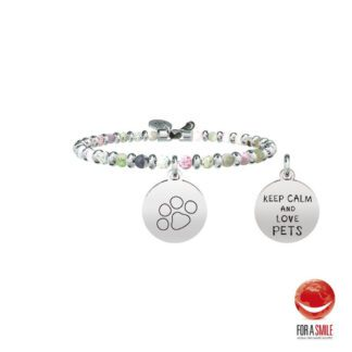 Bracciale Kidult Agata Acciaio Ciondolo Pet | Keep Calm And Love Pets -LIFE Family- 731463
