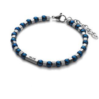 Bracciale Uomo 4US Acciaio Perline Blu Bulloni - Caterpillars - 4UBR2688