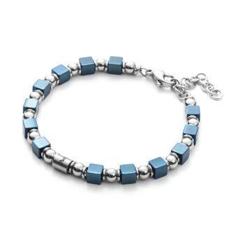 Bracciale Uomo 4US Acciaio Cubi Blu Perline - Blocks - 4UBR2689