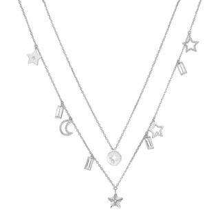 Collana Due Fili Brosway Acciaio Simboli Cristalli Swarovski© - Chant - BAH03
