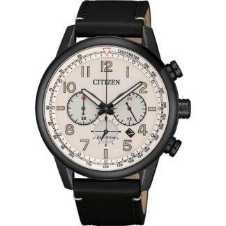 Orologio Citizen Eco Drive Cronografo Acciaio Nero Pelle - Millitary - CA4425-10X
