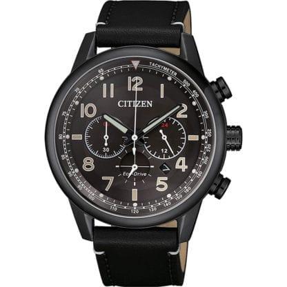 Orologio Citizen Eco Drive Cronografo Acciaio Nero Pelle - Millitary - CA4425-28E