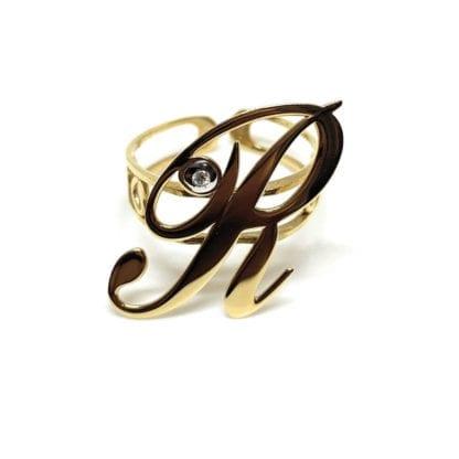 Anello Artlinea Oro Giallo Diamanti Lettera - ADA001N/IN-LN