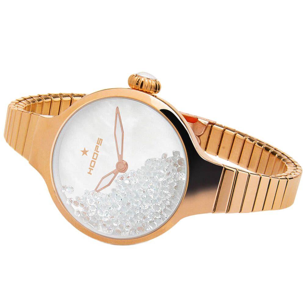 Orologio Solo Tempo Hoops in Acciaio Dorato con Cristalli Nouveau Chérie Gold 2612L RG02