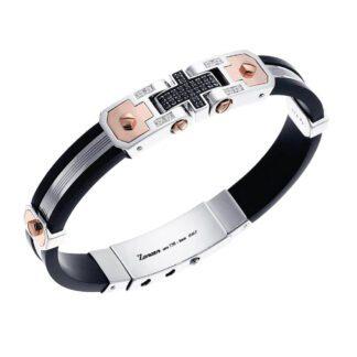 Bracciale Zancan Oro Argento Silicone Spinelli Neri - Power - EXB214