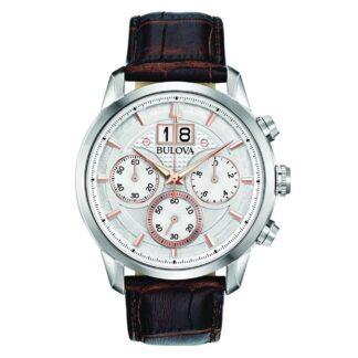 Orologio Cronografo Bulova in Acciaio e Pelle - Sutton - 96B309