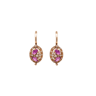 Orecchini Pendenti in Oro Rosa Zaffiri e Diamanti