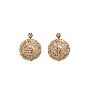 Orecchini a Pendenti in Oro Rosa e Rosette di Diamanti - Stile Antico - 01M020