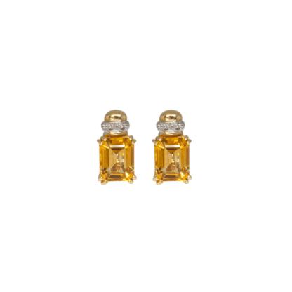 Orecchini in Oro Giallo Topazio Citrino e Diamanti
