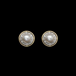 Orecchini a Lobo in Oro Giallo Perle e Diamanti