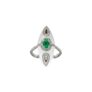 Anello Visconti in Oro Bianco e Smalto con Diamante e Smeraldo - 0116A