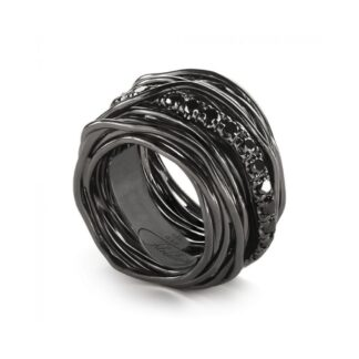 Anello 22 Fili in Argento Brunito con Diamanti Black - Rock Collection - AN22NBN