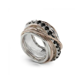 Anello 13 Fili in Argento e Oro Rosa con Diamanti Black - Carato Collection - AN001ARBN