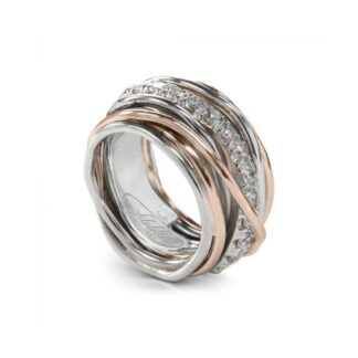 Anello 13 Fili in Argento e Oro Rosa con Diamanti - Carato Collection - AN001ARBT