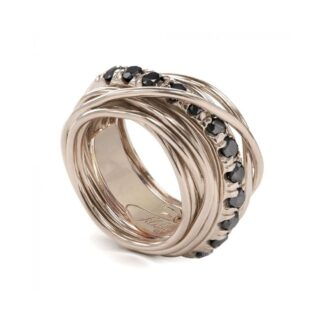 Anello 13 Fili in Oro Rosa 9kt con Diamanti Black - Carato Collection - AN001RBN