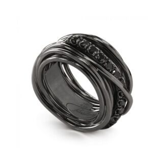 Anello 13 Fili in Argento Brunito con Diamanti Black - Rock Collection - AN10NBN