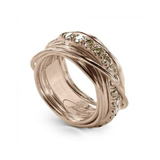 Anello 13 Fili in Oro Rosa con Diamanti Brown - Prezioso Collection - AN113RBR
