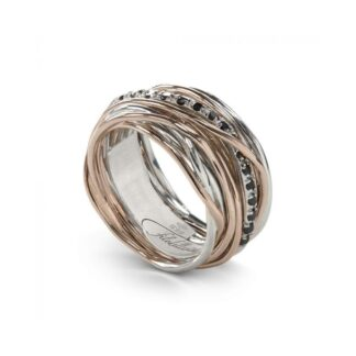 Anello 13 Fili in Argento e Oro Rosa con Diamanti Black - Classic Collection - AN13ARBN