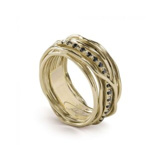 Anello 13 Fili in Oro Giallo 9kt con Diamanti Black - Classic Collection - AN13GBN