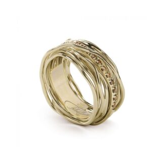 Anello 13 Fili in Oro Giallo 9kt con Diamanti Brown - Classic Collection - AN13GBR