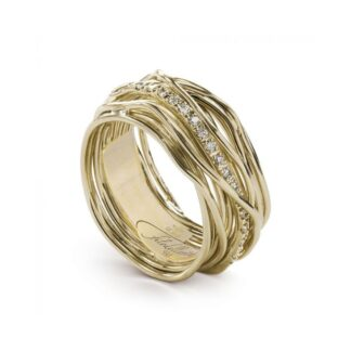 Anello 13 Fili in Oro Giallo 9kt con Diamanti - Classic Collection - AN13GBT