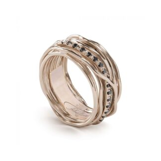 Anello 13 Fili in Oro Rosa 9kt con Diamanti Black - Classic Collection - AN13RBN