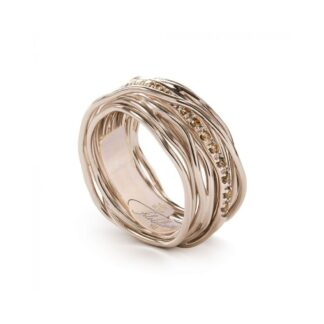 Anello 13 Fili in Oro Rosa 9kt con Diamanti Brown - Classic Collection - AN13RBR