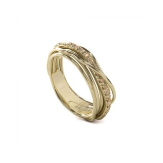 Anello 7 Fili in Oro Giallo 9kt con Diamanti Brown - Classic Collection - AN7GBR