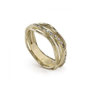 Anello 7 Fili in Oro Giallo 9kt con Diamanti - Classic Collection - AN7GBT