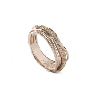 Anello 7 Fili in Oro Rosa 9kt con Diamanti Brown - Classic Collection - AN7RBR